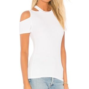 New LA Made Cut Out Shoulder Rib Knit White Tee S